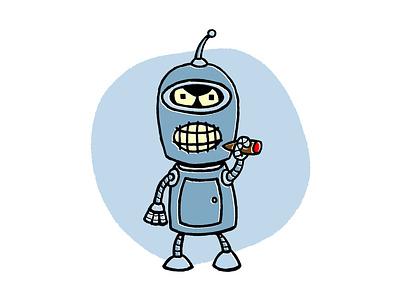 Retro Bender illustration vintage retro robot futurama bender