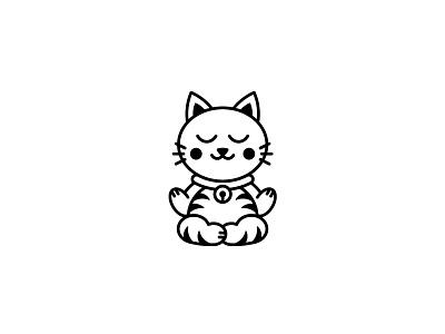 Purrrrrrr lucky logo zen meditation kitty cat kitten