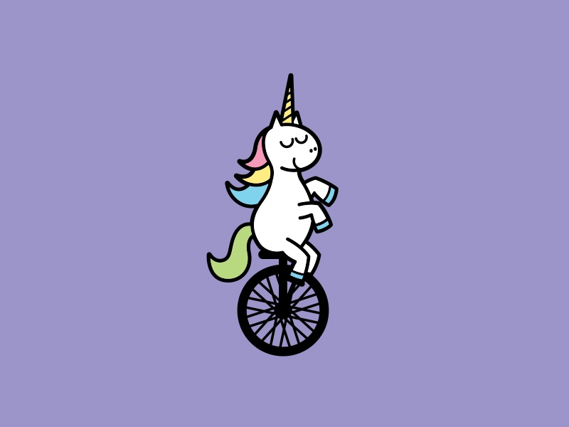 Uni-corn vector illustration unicycle unicorn