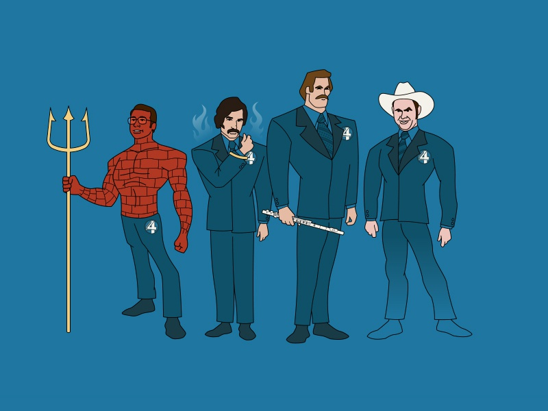 The Fantastic 4 News Team illustration vector planet pulp champ kind brian lantana brick farmland ron burgundy fantastic four anchorman
