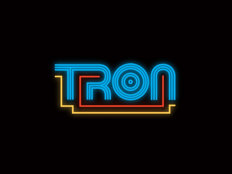Tron Type typography light cycle disc tron