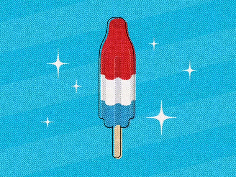 Three Cheers For The Red White And Blue vector illustration retro popsicle rocket pop america 4th of july independence day