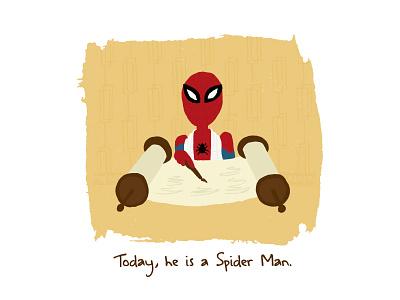 Yesterday, he was just a Spider Boy… mid century illustration torah jewish bar mitzvah marvel spiderman spider-man