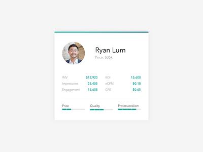 Influencer Card Design web dashboard ui ux influencer profile