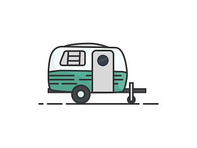 Camper Van Trailer Illustration illustration outdoors camping rv trailer campervan