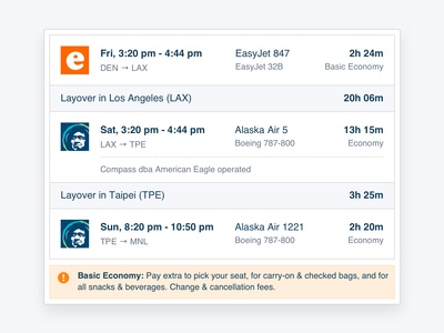Flight Itinerary Hover Card