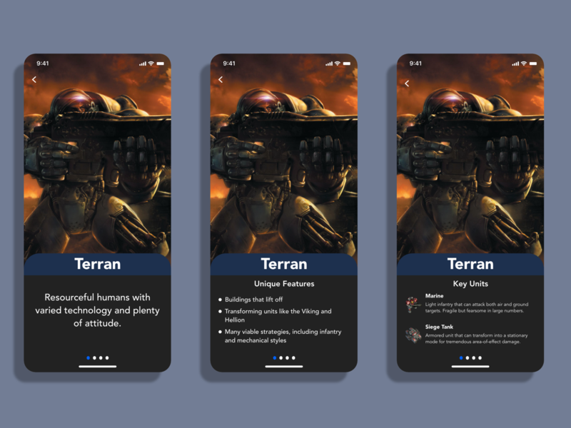 Terran Screen terran starcraft 2 starcraft illustration app design app mobile dailyui adobexd ui design practice