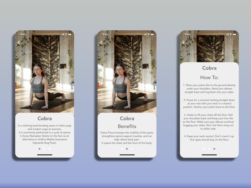 Cobra Pose yoga pose yoga app yoga web mobile app design typography adobexd design ui practice