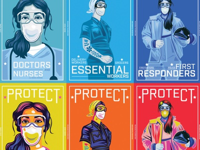 Protect Essential Workers Series crisis protect usa nurses firefighters firstresponders essentialworkers doctors medicalworkers virus corona art pandemic pandemicart color illustration design poster covid-19
