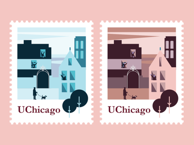 UChicago Campus Stamps sky blue red vector drawing buildings education chicago illustration university campus cobbgate stamps uchicago
