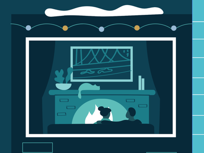 Zoom in on a holiday 2020 greeting couple warm fireplace fire cozy holiday workinprogress illustration