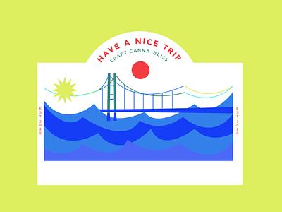 Branding Experiment bright color waves craftcannabis trip cannabis bridge colors bright logo branding vector color design art illustration