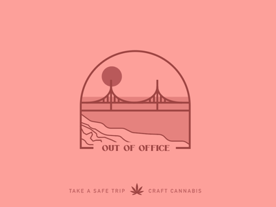 OOO destination trip 000 chill outofoffice cannabisdesign cannabis branding bridge pink branding logo craftcannabis cannabis ooo drawing vector color design art illustration
