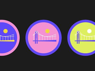 Color exporation on a branding project sticker design sticker stickers neon colors neon colors sky bridge cannabis drawing vector color design art illustration