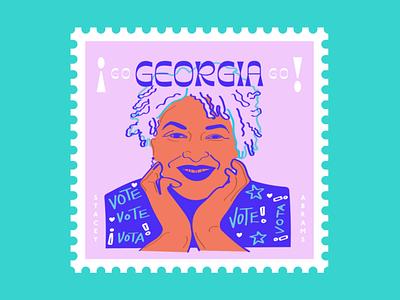Stacey Abrams election usa stars georgia vota vote stamp drawing color design art illustration