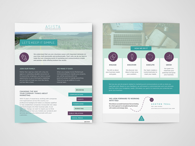 Asista marketing sales sheet by natalie schultz dribbble for Sales slick template