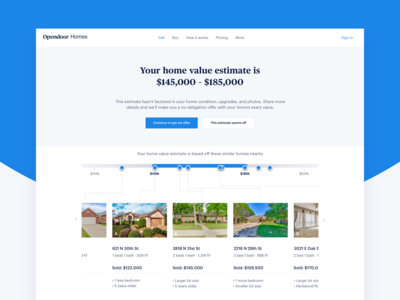 Home value estimate page