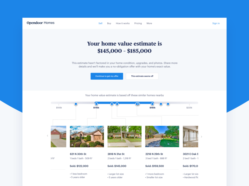 Home value estimate page estimate home value carousel price comps home flat ux design ui ui design design opendoor