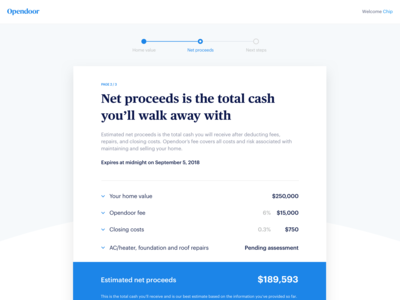 Web Offer Page - Net Proceeds