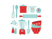 retro cooking illustrations