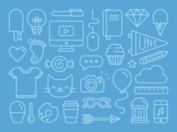 unc design & treats icon set