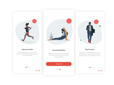 Onboarding Scenes for FitMe iOS app app design ios ui ux branding illustration
