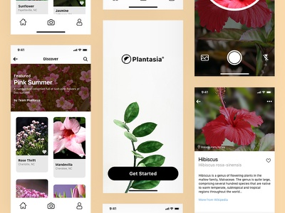 Plantasia: Plant Identification iOS App logo flat illustration branding ux ui ios design app