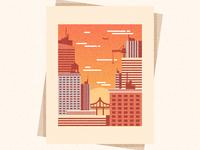 illustrator#City dusk