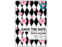 Save The Date with Floral Geometric Pattern
