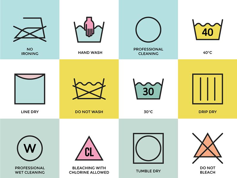 Laundry Icons instructions icons washing laundry