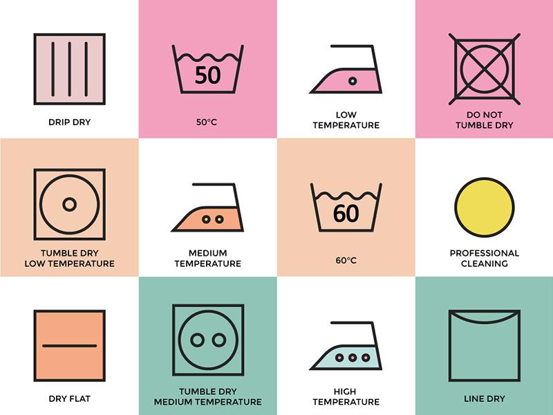 Washing Instructions instructions icons washing laundry