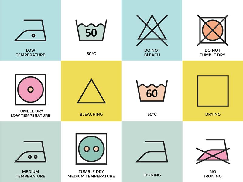 Clothing Care Apparel Instructions instructions icons washing laundry