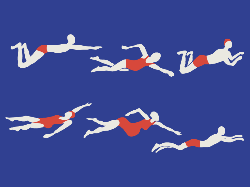 Swimming athletic summer swimmers illustrations drawn hand