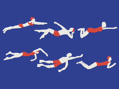 Swimmers water illustrations people athletic swimmers summer