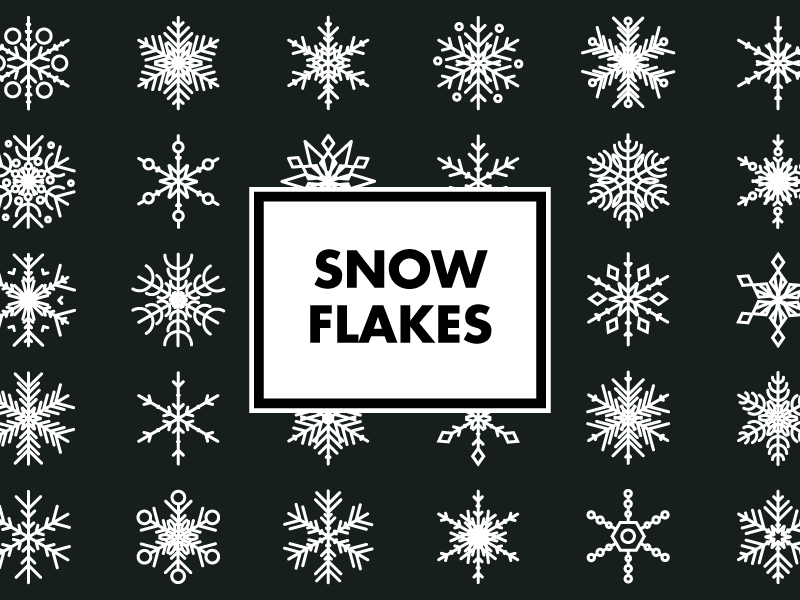 Snowflake Icons logos cold weather line icons line art icons winter snowflakes snow
