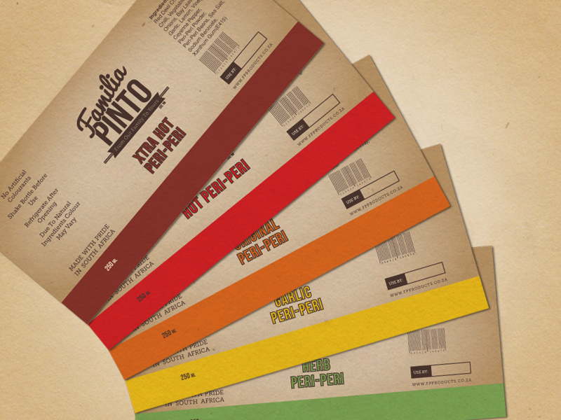 Familia Pinto Peri-Peri Sauce Labels familia pinto chilli sauce peri-peri lonely viking shane rielly label packaging print