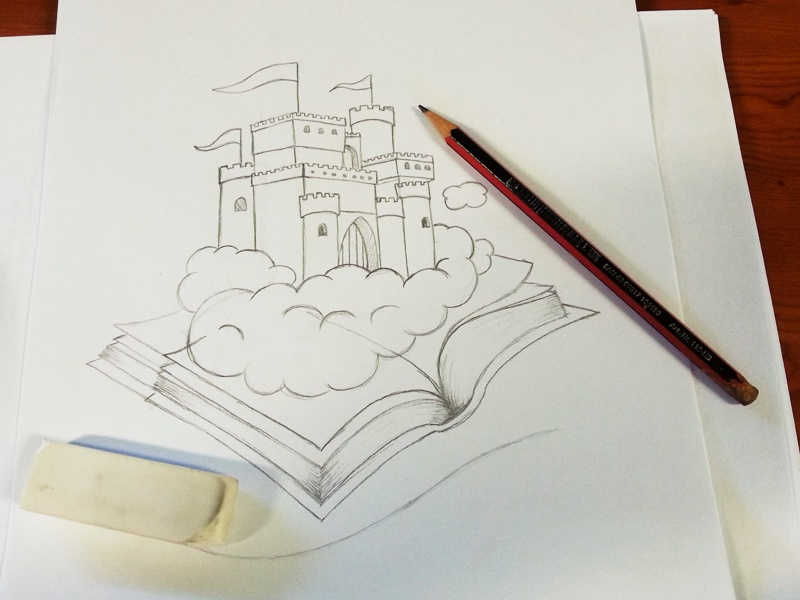 Castles In The Clouds Sketch book story storytelling fairytale clouds castle vector logo lonely viking shane rielly sketch