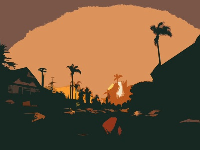 West Coast Best Coast scenery wallpaper outdoors nature sunset palm tree palm west coast california design illustration