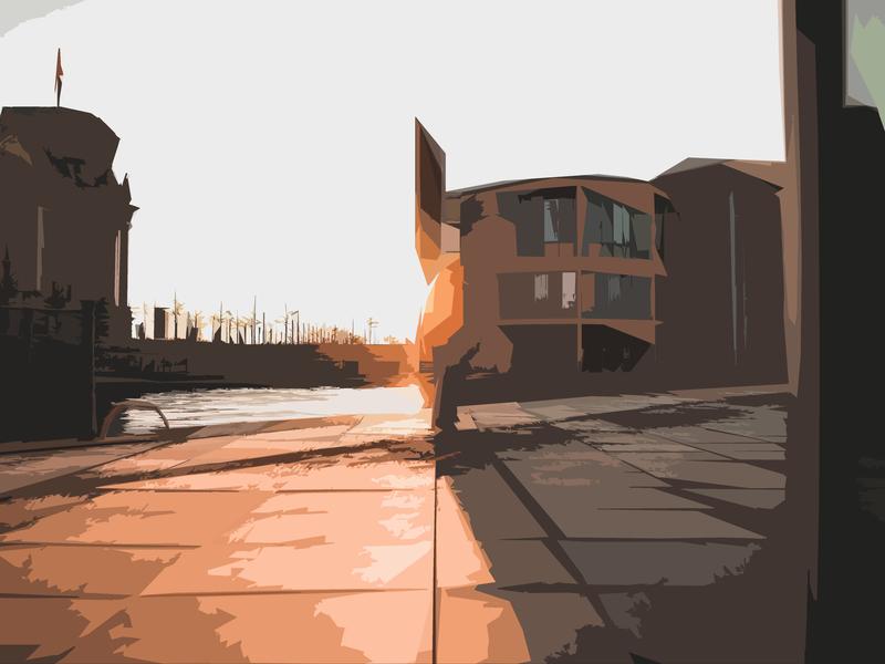 Riverside Walk landscape imaginary riverside river sunset outdoors nature sketching shapes photoshop illustration design