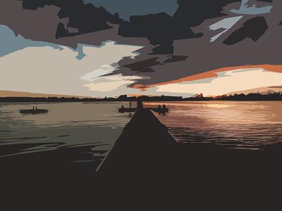 Sunset Pier bay beach ocean sea water pier dock sunset outdoors nature sketching shapes photoshop illustration design