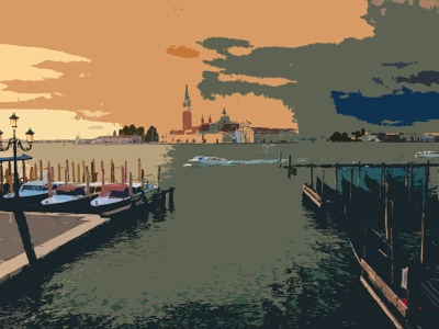 Gondola Outlook reflection sunset church boat canal water river gondola italy venice outdoors sketching shapes photoshop illustration design