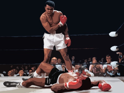 The Greatest sports victory iconic history win greatest muhammad ali ali muhammad knockout boxing fight champion sketching shapes photoshop illustration design