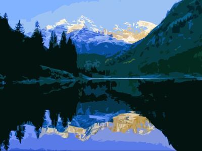 Maroon Bells, Colorado blue sky reflection usa forest trees water river lake mountains colorado maroon bells bells maroon outdoors nature sketching shapes photoshop illustration design