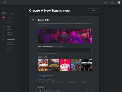 Tournaments Creation Page