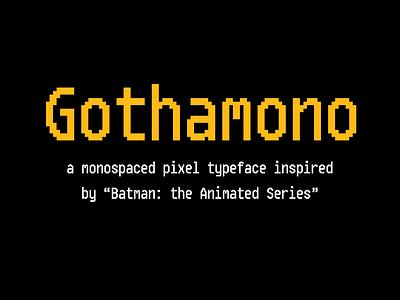 Gothamono typeface title card pixel font pixel type pixel art pixel typography experiment texture