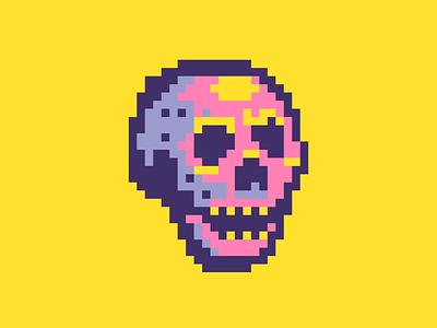 neon skull neon sign skull pixel art pixelart pixel illustration