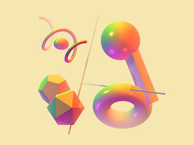 rainbow 3D 3d art spline 3d experiment