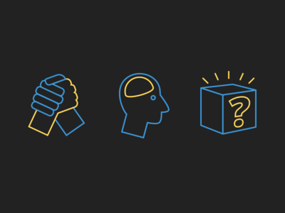 Connect, Learn, Rewards prize box mystery box hands brain rewards learn connect drawing line illustration line icons icons