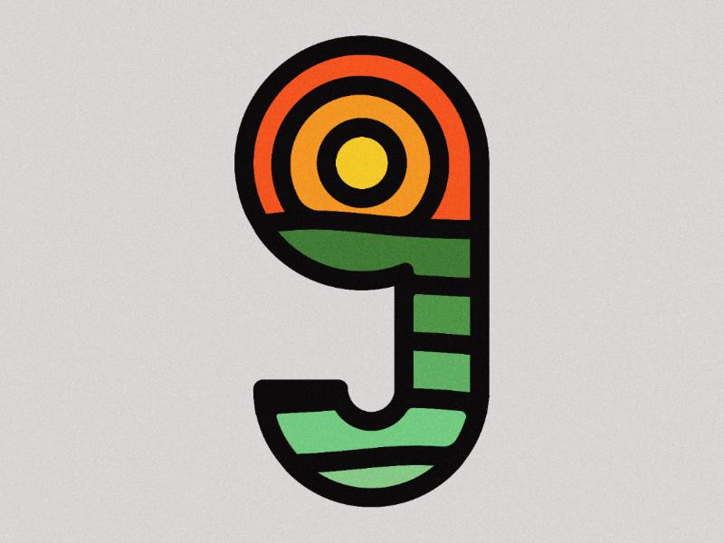 9 - 36 Days of Type illustration illustrator green  red color number letter design glyph 9 logo 9 36daysoftype