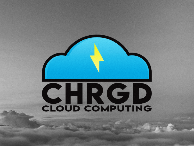CHRGD Cloud Computing Logo illustrator lightening gradient cloud logo illustration design logo computer cloud chrgd